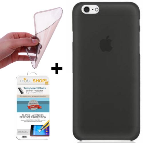 Mobil Shop Apple iPhone 6S Kılıf 0.2MM Silikon + Kırılmaz Cam