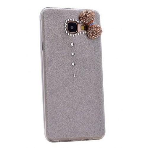 Case 4U Samsung A710 Galaxy A7 (2016) Fiyonklu Simli Silikon Kılıf Gri*