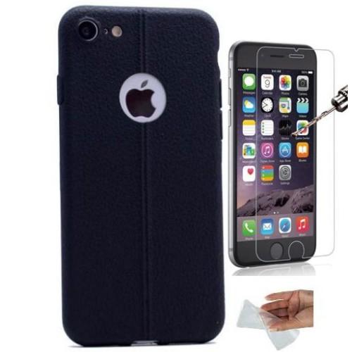 Teleplus İPhone 7 Suni Deri Görünümlü Silikon Kılıf Siyah + Kırılmaz Cam