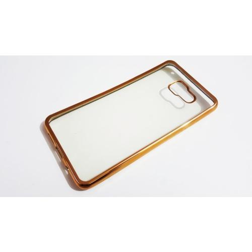 Mobillife Samsung Galaxy A7 2016 Gold Kenar Yumuşak Silikon Şeffaf Kılıf