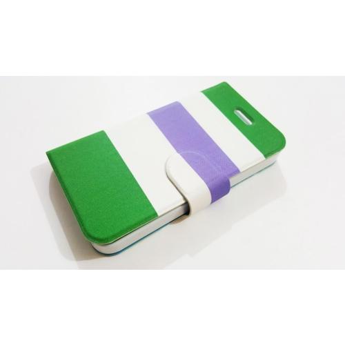 Mobillife Apple İphone 5/5S Gökkuşağı Kapaklı Yeşil Beyaz Silikon Kılıf