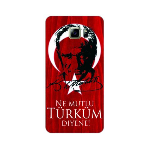 Bordo Samsung Galaxy Note 7 Kapak Kılıf Türk Bayrağı Baskılı Silikon