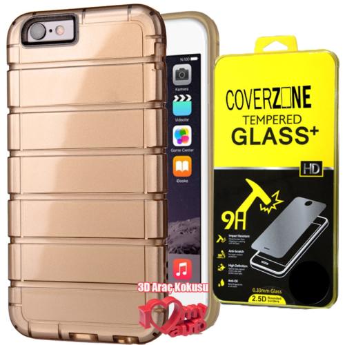 CoverZone iPhone 6 6S Kılıf Shine Line Silikon + Kırılmaz Cam + 3d Araç Kokusu