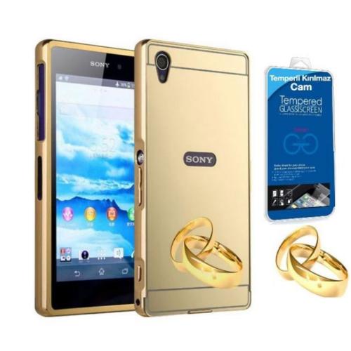 Teleplus Sony Xperia M4 Aqua Aynalı Metal Kapak Kılıf Gold + Kırılmaz Cam