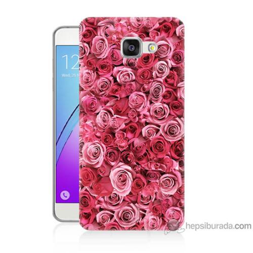 Bordo Samsung Galaxy A7 2016 Pembe Güller Baskılı Silikon Kapak Kılıf