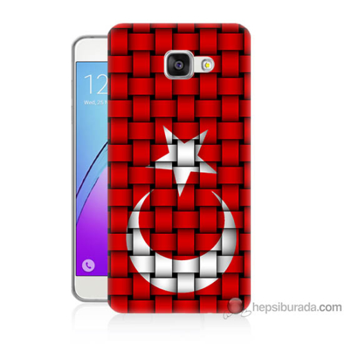 Bordo Samsung Galaxy A3 2016 Kareli Türk Bayrağı Baskılı Silikon Kapak Kılıf