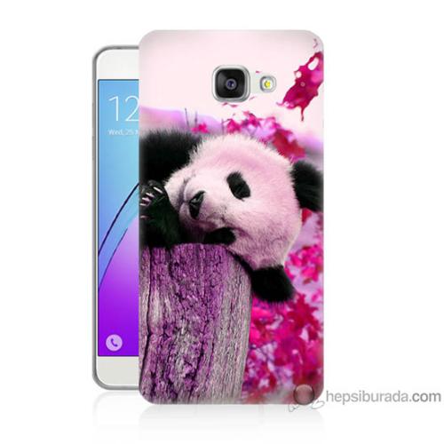 Bordo Samsung Galaxy A7 2016 Sevimli Panda Baskılı Silikon Kapak Kılıf
