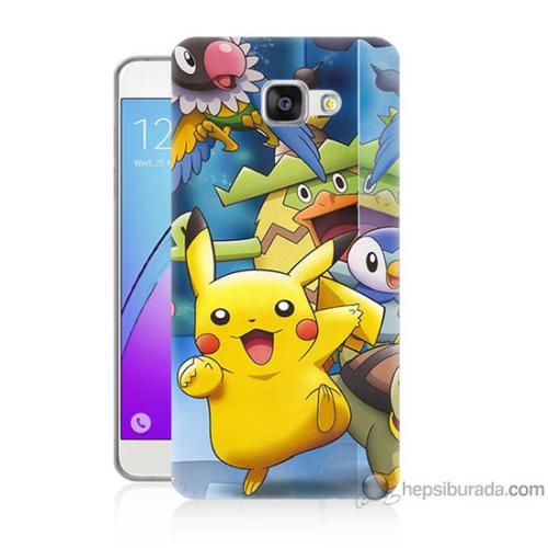 Bordo Samsung Galaxy A7 2016 Pikachu Ve Arkadaşları Baskılı Silikon Kapak Kılıf