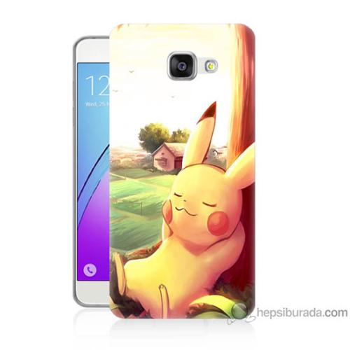 Bordo Samsung Galaxy A3 2016 Pokemon Doğa Baskılı Silikon Kapak Kılıf