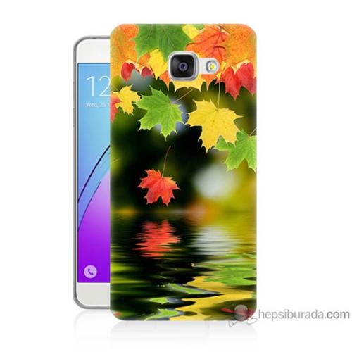 Bordo Samsung Galaxy A5 2016 Renkli Yaprak Baskılı Silikon Kapak Kılıf