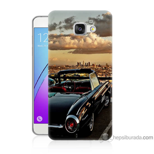 Bordo Samsung Galaxy A3 2016 Siyah Araba Baskılı Silikon Kapak Kılıf