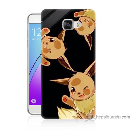 Bordo Samsung Galaxy A5 2016 Üçlü Pikachu Baskılı Silikon Kapak Kılıf