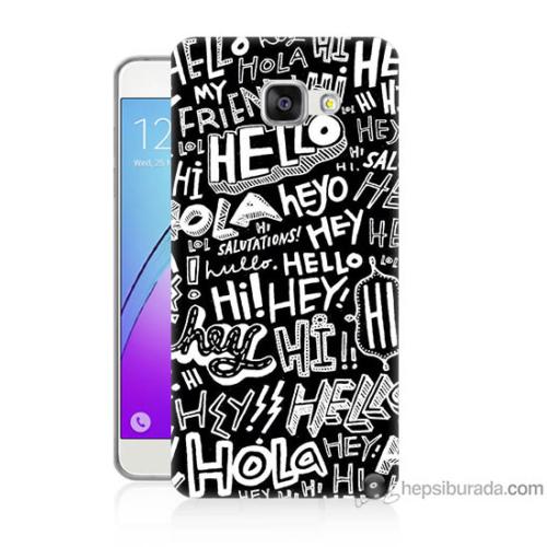 Bordo Samsung Galaxy A5 2016 Hello Baskılı Silikon Kapak Kılıf