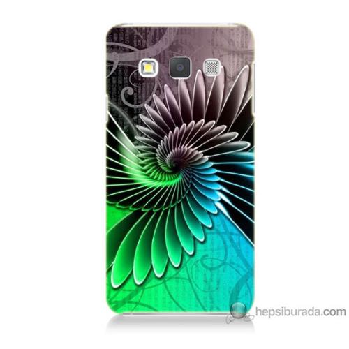 Bordo Samsung Galaxy A3 Renkli Kanatlar Baskılı Silikon Kapak Kılıf