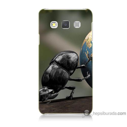 Bordo Samsung Galaxy A3 Dünyayı İten Böcek Baskılı Silikon Kapak Kılıf