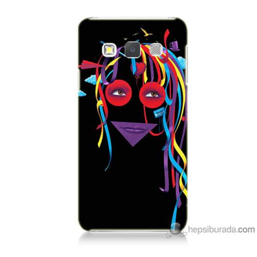 Bordo Samsung Galaxy A5 Renkli Kız Baskılı Silikon Kapak Kılıf