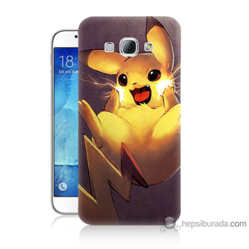 Bordo Samsung Galaxy A8 Elektro Pikachu Baskılı Silikon Kapak Kılıf