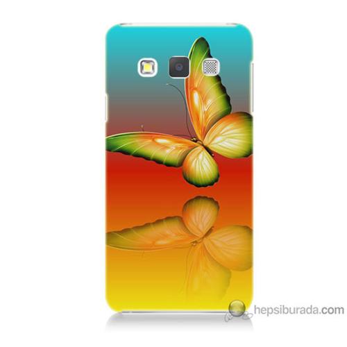 Bordo Samsung Galaxy A7 Sarı Kelebek Baskılı Silikon Kapak Kılıf