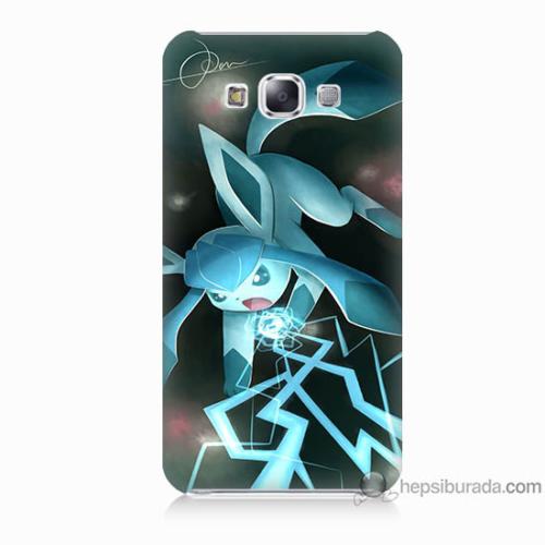 Bordo Samsung Galaxy E5 Şimşek Pikachu Baskılı Silikon Kapak Kılıf