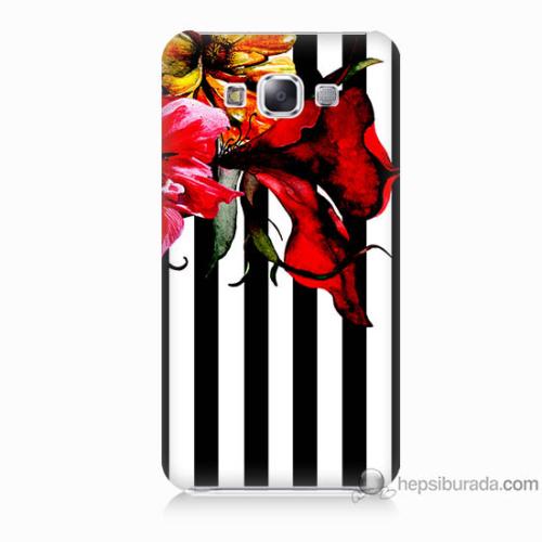 Bordo Samsung Galaxy E7 Çiçek Baskılı Silikon Kapak Kılıf