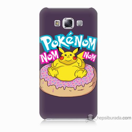 Bordo Samsung Galaxy E7 Obur Pokemon Baskılı Silikon Kapak Kılıf
