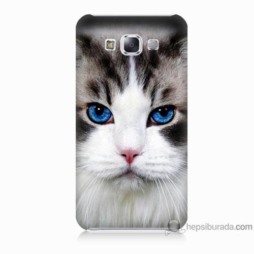 Bordo Samsung Galaxy E5 Maviş Gözlü Kedicik Baskılı Silikon Kapak Kılıf