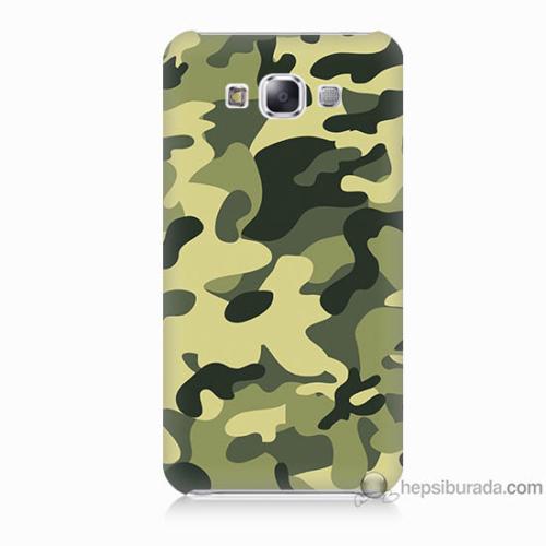 Bordo Samsung Galaxy E5 Kamuflaj Baskılı Silikon Kapak Kılıf