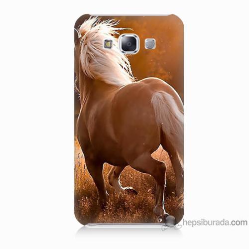 Bordo Samsung Galaxy E5 At Baskılı Silikon Kapak Kılıf