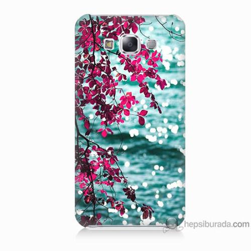 Bordo Samsung Galaxy E7 Manzara Baskılı Silikon Kapak Kılıf