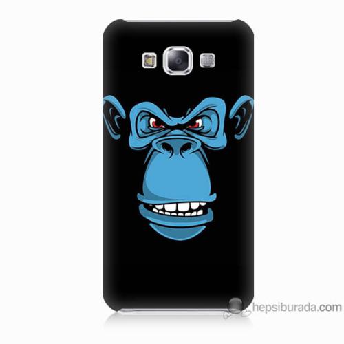 Bordo Samsung Galaxy E7 Mavi Goril Baskılı Silikon Kapak Kılıf