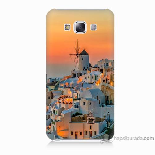 Bordo Samsung Galaxy E7 Manzara Yunanistan Baskılı Silikon Kapak Kılıf