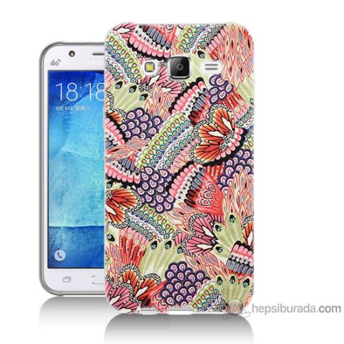Bordo Samsung Galaxy J2 Renkli Desenler Baskılı Silikon Kapak Kılıf