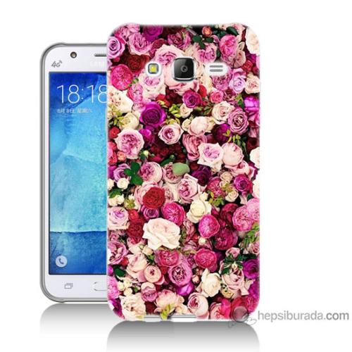 Bordo Samsung Galaxy J2 Renkli Güller Baskılı Silikon Kapak Kılıf