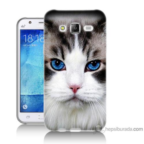 Bordo Samsung Galaxy J2 Maviş Gözlü Kedicik Baskılı Silikon Kapak Kılıf