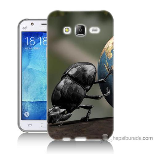 Bordo Samsung Galaxy J2 Dünyayı İten Böcek Baskılı Silikon Kapak Kılıf