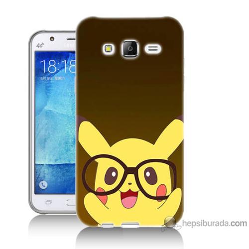 Bordo Samsung Galaxy J3 Gözlüklü Pikachu Baskılı Silikon Kapak Kılıf