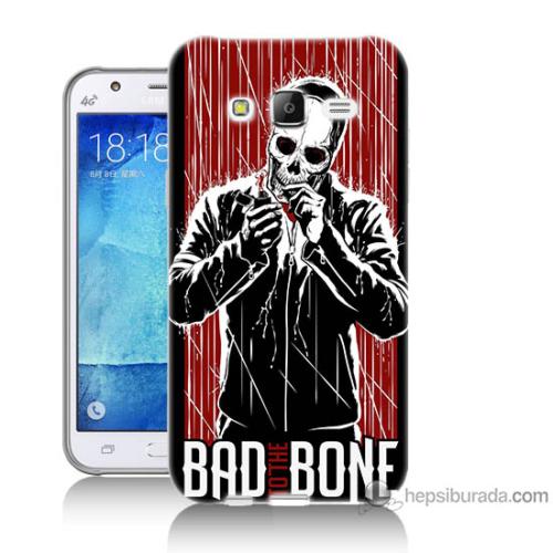 Bordo Samsung Galaxy J3 Bad Bone Baskılı Silikon Kapak Kılıf