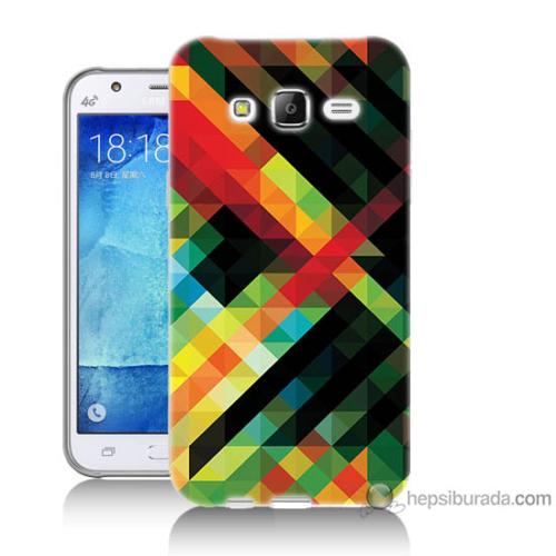 Bordo Samsung Galaxy J5 Renkli Çizgiler Baskılı Silikon Kapak Kılıf