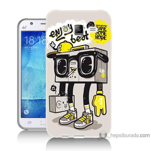 Bordo Samsung Galaxy J5 Teyp Adam Baskılı Silikon Kapak Kılıf