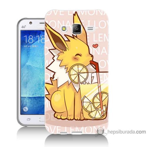 Bordo Samsung Galaxy J5 Sevimli Pokemon Baskılı Silikon Kapak Kılıf