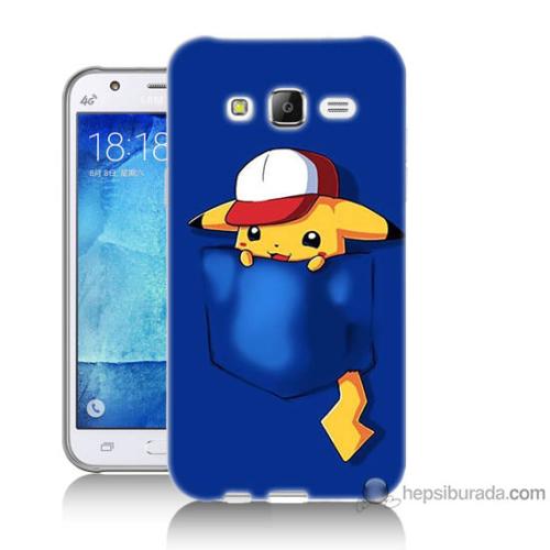 Bordo Samsung Galaxy J5 Uykucu Pikachu Baskılı Silikon Kapak Kılıf
