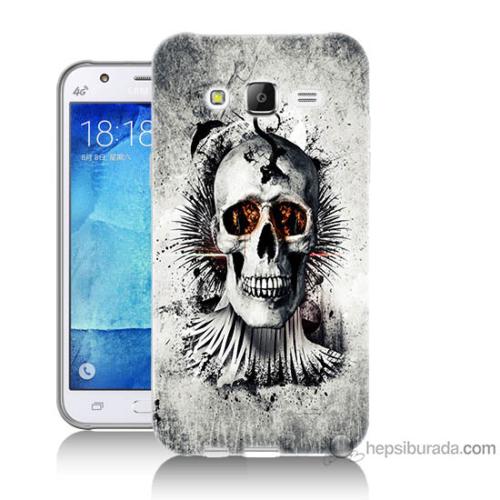Bordo Samsung Galaxy J5 Hayalet Kuru Kafa Baskılı Silikon Kapak Kılıf