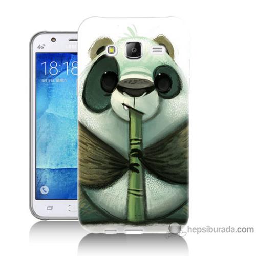 Bordo Samsung Galaxy J7 Flütlü Panda Baskılı Silikon Kapak Kılıf
