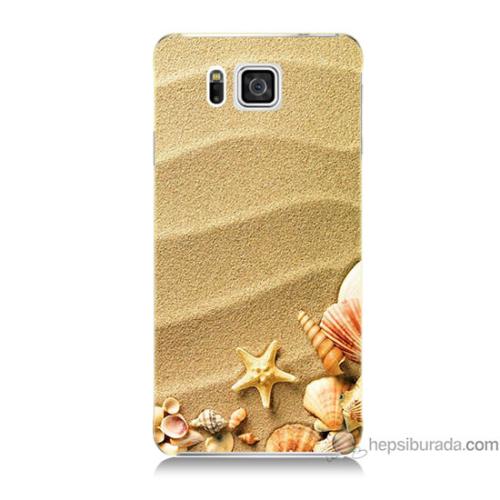 Bordo Samsung Galaxy Alpha G850 Deniz Yıldızı Baskılı Silikon Kapak Kılıf