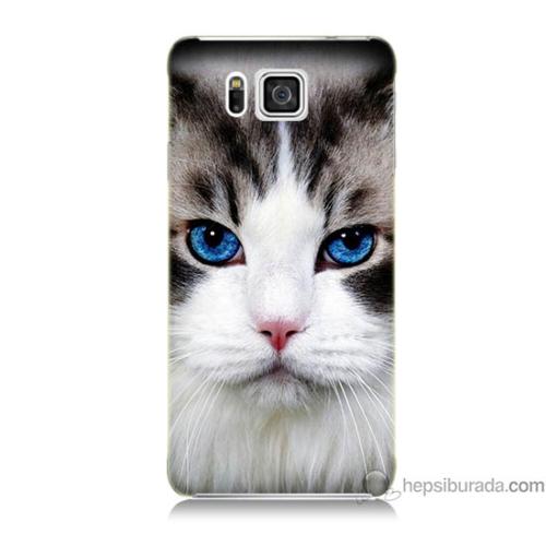 Bordo Samsung Galaxy Alpha G850 Maviş Gözlü Kedicik Baskılı Silikon Kapak Kılıf