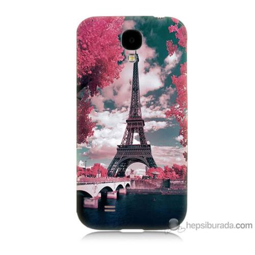 Bordo Samsung Galaxy S4 İlkbahar Paris Baskılı Silikon Kapak Kılıf