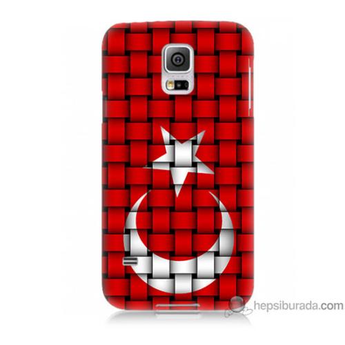 Bordo Samsung Galaxy S5 Kareli Türk Bayrağı Baskılı Silikon Kapak Kılıf