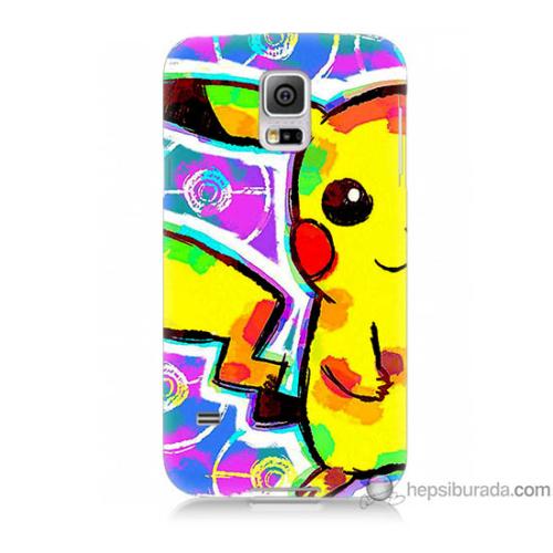 Bordo Samsung Galaxy S5 Sevimli Pikachu Baskılı Silikon Kapak Kılıf