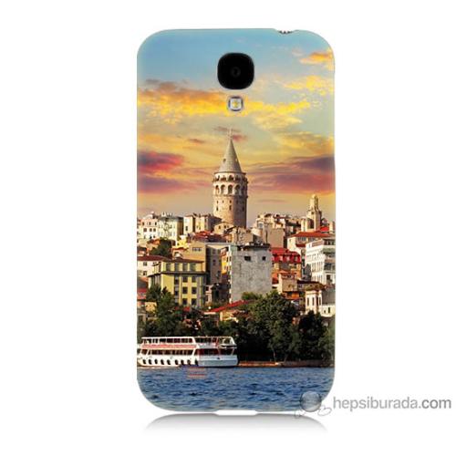 Bordo Samsung Galaxy S4 İstanbul Galata Baskılı Silikon Kapak Kılıf