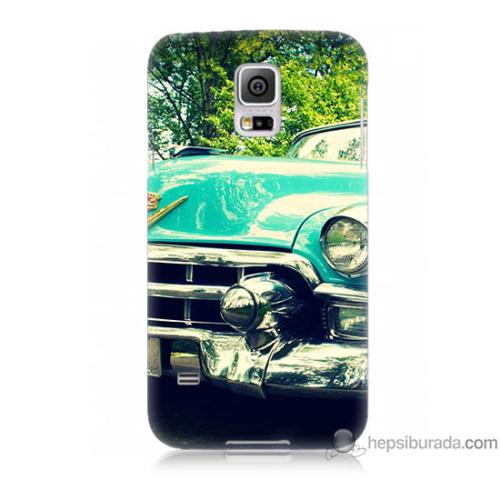 Bordo Samsung Galaxy S5 Klasik Araba Baskılı Silikon Kapak Kılıf